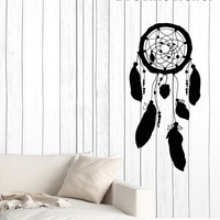 Wall Vinyl Decal Dreamcatcher Feather Symbol Amulet Home Interior Decor Unique Gift z4633