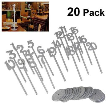 20pcs 1 to 20 Wooden Table Numbers with Holder Base for Wedding or Home Decoration