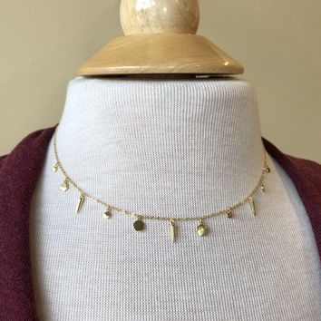 Sterling Silver Shapes Choker Necklace