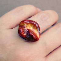 Red Shell Ring, Red Golden Shell Ring, Gold Red Jewelry Rings, Mother of Pearl Fire Red Ring, OOAK Rings, Shell Fire Red Bronze Ring, Size 7