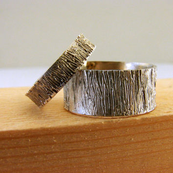 Tree Bark Sterling Silver Wedding Rings Set by Nafsika on Etsy