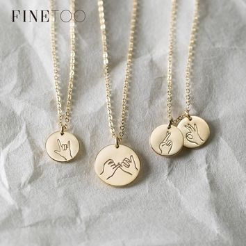 Engraved Sign Language I Love You Pinky Swear Okay Hand Gestures Necklace Sister Best Friends Necklace Friendship Jewelry