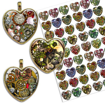 Steampunk Hearts 1x1 inch heart shaped images Printable Digital Collage Sheet