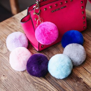 Popular Fuzzy Fluffy 8 cm Genuine Rabbit Fur Pompom Charm Keychain