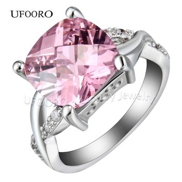 UFOORO 2017 New silver color knot engagement ring big pink square CZ stone fashion cross wedding jewelry for women lady gift