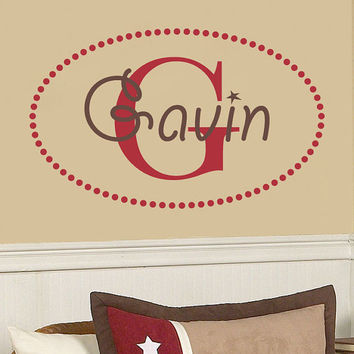 Boys Name Wall Decal With Initial And Polka Dot Border For Boy Baby Nursery Or Bedroom Personalized Vinyl Wall Art 22H x 36W BN032
