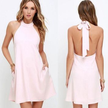 ESBONN Summer sleeveless Halter Pure Pink dress