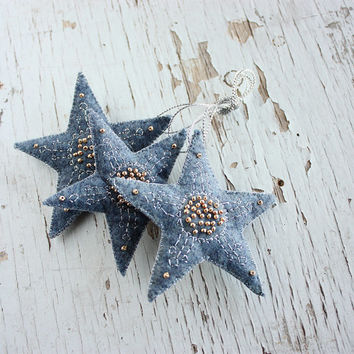 Felt stars ornament - rustic primitive - Christmas ornaments - Christmas decoration - gift for home - blue golden stars - set of 3