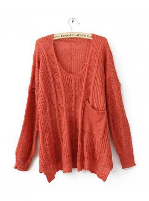 Red Twist Loose Pocket Decoration Sweater $42.00