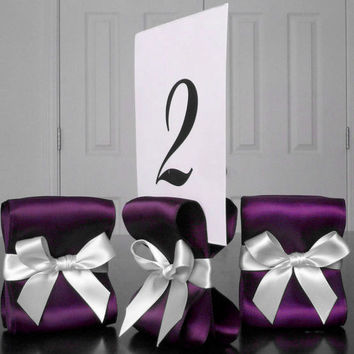 Table Number Holders - Wedding Decor - Ten (10) with Eggplant and White Satin Ribbon - Customize Your Colors
