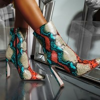 AZALEA WANG Snake Skin High Heel Bootie in Multicolor Snake