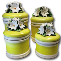 Vintage Rockabilly Kitchenalia Retro Mod Ceramic Anthropology Style Retro Nesting Kitchen Canisters 3D Sculpture Flower Lid Set of 4 Yellow