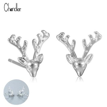 925 sterling silver Deer Head Stud Earrings
