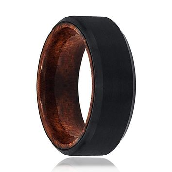 Tungsten Wooden Ring - Mens Wedding Band - Black Mens Ring - Man Ring - Wood Ring - Black Tungsten Wedding Band - Beveled Edge - Brushed