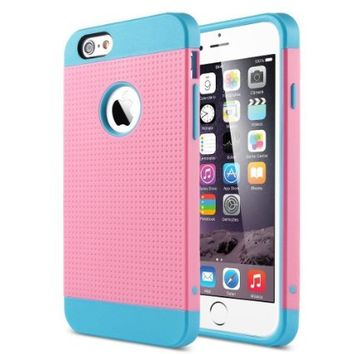 ULAK 2 in 1 Shield Case for iPhone 6 Plus / iPhone 6s Plus 2-Piece Style hard PC outer shell with soft inner TPU Hard Cover (Blue/Pink)