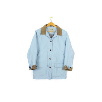 90s LL BEAN  baby blue barn coat - vintage 1990s - brown corduroy collar canvas field jacket