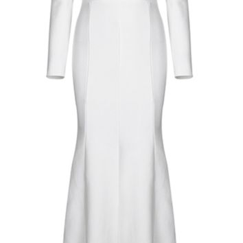 'Tarena' Long Sleeved Cut Out Maxi Dress - White