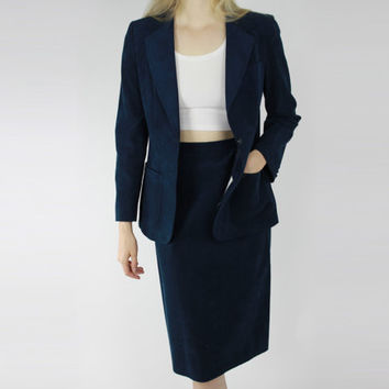 vtg 80s suede navy blue blazer preppy coat blue boyfriend blazer small sm s