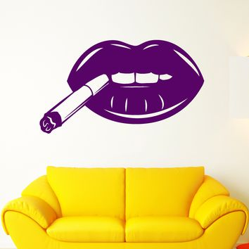 Vinyl Wall Decal Sexy Lips With Cigarette Smoking Girl Joint Stickers (2529ig)