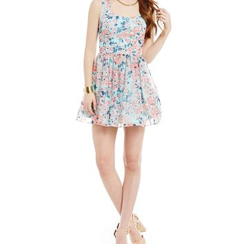 B. Darlin Sleeveless Floral Tieback Dress | Dillards