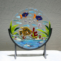 THE REEF - An underwater ocean scene full of colorful fish and sea life created in a fused glass sculpture. Become a diver in your own space