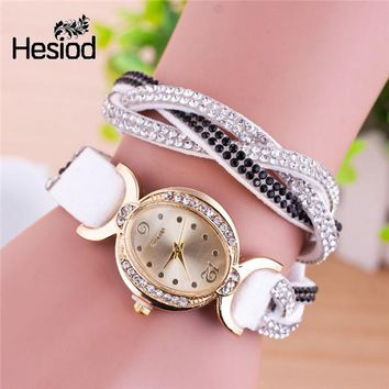 Casual Women's Watches Weave PU Leather Crystal Rivet Bracelet Watch Girls ladies Watches Oval Dial Small Watches