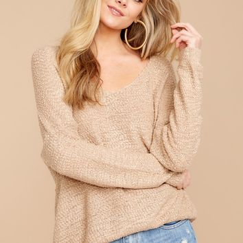 For The Cool Down Taupe Sweater
