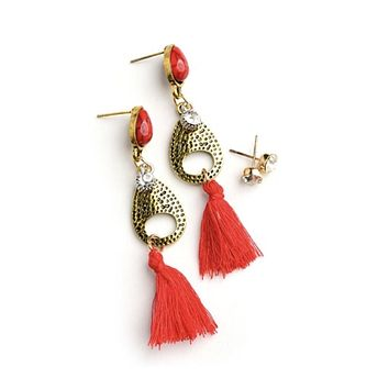 Fringe Gem Earrings Set