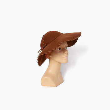 Vintage 40s Brown HAT / 1940s Soft Felt Wide Brim Floppy Hat