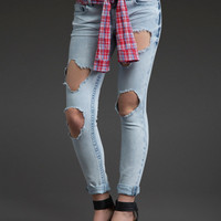 Skinny Jeans with Cutouts & Flannel Sleeve Belt