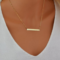Skinny Bar Necklace, Coordinates Necklace, Name Necklace, Bar Necklace Gold, Rose Gold, Silver Personalized Necklace, Custom Jewelry, 4x45