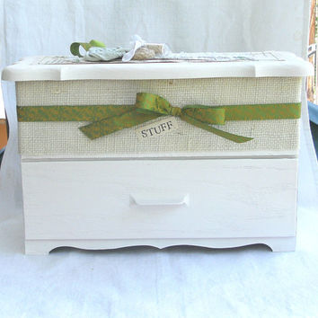 Storage Box  White Embellished Box For by LittleVintageCottage