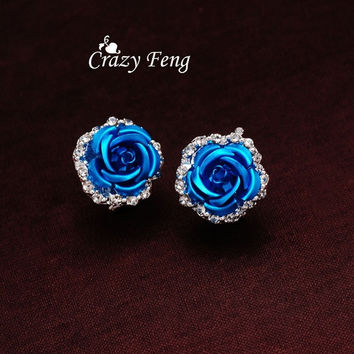 Women's New Silver Plated Crystal 6 Colors Roses Stud Earrings For Wedding = 1932938948
