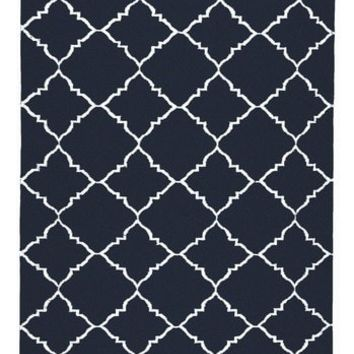 Lattice Navy Blue Dhurrie Rug