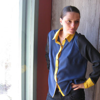 20 % OFF Silk shirt, designed and sewed by myself, vivid mix of  colors, geometric and patchwork vision, classic silhouette.
