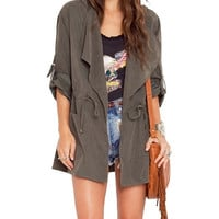 Grey Hooded Lapel Coat