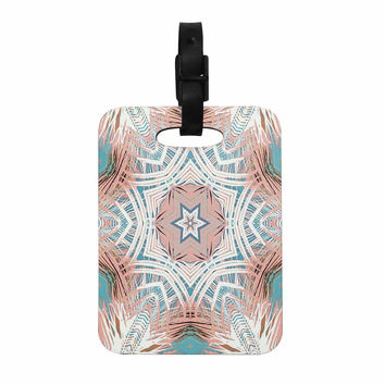 "Alison Coxon ""Tribe Coral And Teal "" Blue White Decorative Luggage Tag"