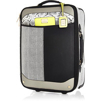 River Island Womens Black color block wheelie suitcase