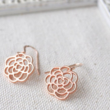 Boho chic earrings, Bridesmaid Jewelry, Bridesmaid Gift, 14K Rose Gold Earrings, rose gold jewelry, delicate earrings, flower earrings