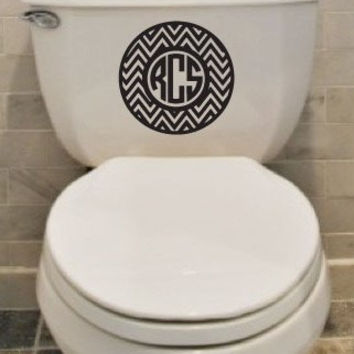 Chevron and Circle Monogram Toilet Decal