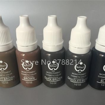 5Pcs Brown Back Color Biotouch Permanent Makeup Micro Pigment Cosmetic Manual Tattoo Ink 1/2 oz For 3D Eyebrow Eyeliner Lip
