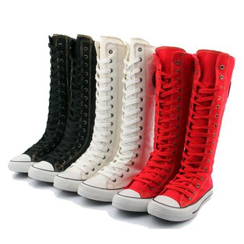 Women Boots Canvas Lace Up With Zipper Knee High Hip Hop Flats Casual Shoes Women Tall Punk White/Red Autumn Boots 7h38