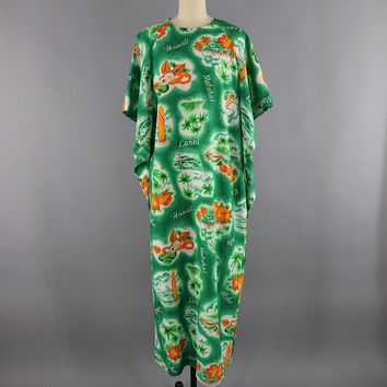 Vintage Hawaiian Print Caftan Dress / Angel Sleeves
