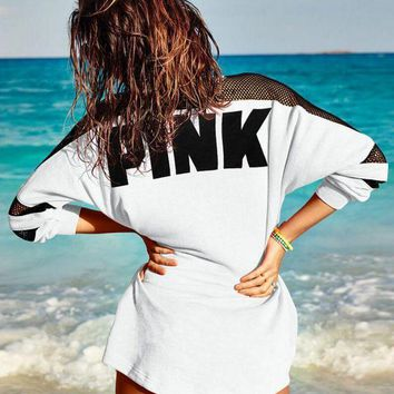 Victoria's secret Pink Fashion Letter Print Round neck Long-sleeves Pullover Tops T-shirt-1