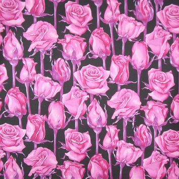 SPECIAL--Fuchsia on Black Packed Roses Print Pure Cotton Fabric--One Yard