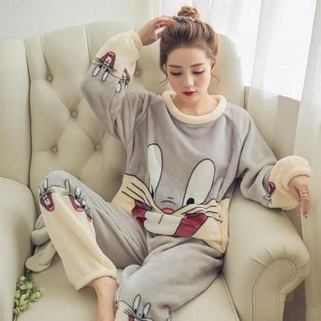 ONETOW 2017 Autumn Winter Women Pajamas Set Sleep Jacket Pant Sleepwear Warm Nightgown Female Cartoon Bear Animal Pants Sleepwear