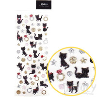 Black Kitty Cat Stars Diamond Ring Shaped Glittery Decorative Stickers | Cute Animal Themed Scrapbook Decorating Supplies