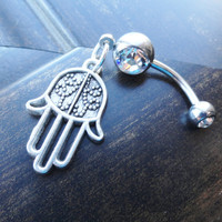 Hamsa Belly Button Rings, Hand of Fatima Belly Jewelry