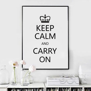 Keep Calm Quote Canvas Art Print Painting Poster, Wall Pictures for Home Decoration, Housing FA202