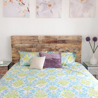 recycled pallet wood headboard or bed - custom reclaimed king queen full twin cali set